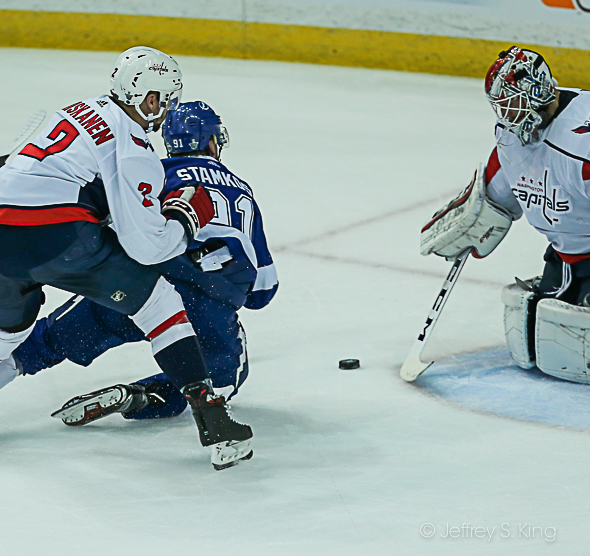 Stamkos brought down from behind as he gets close./JEFFREY S. KING