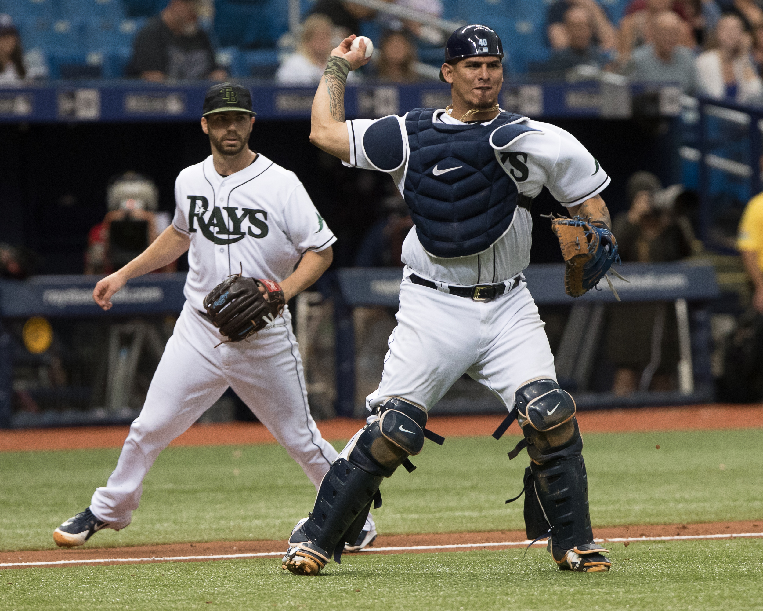 Wilson Ramos gets the out in Rays' win/STEVEN MUNCIE