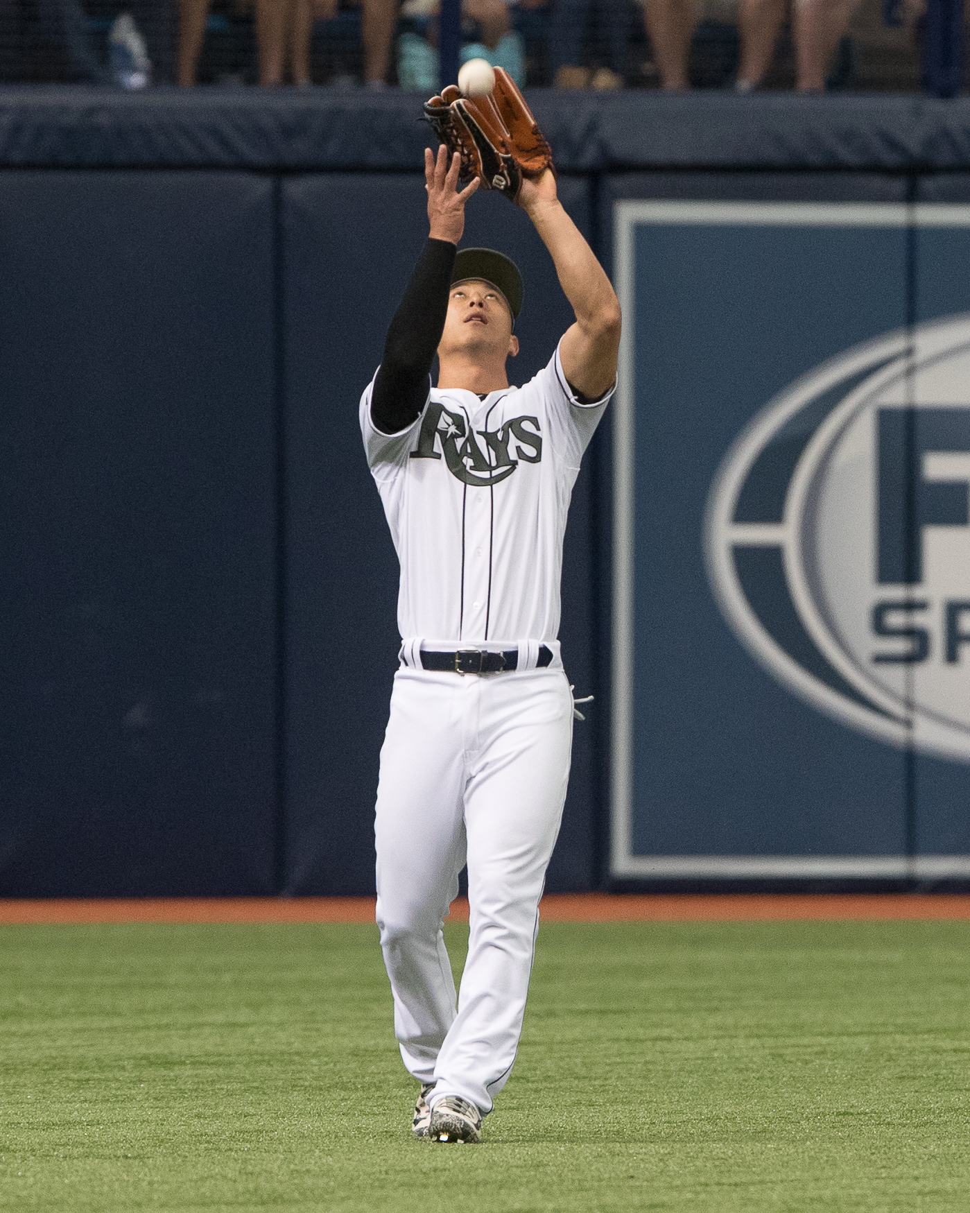 Rob Refsnyder makes the catch for Rays./STEVEN MUNCIE