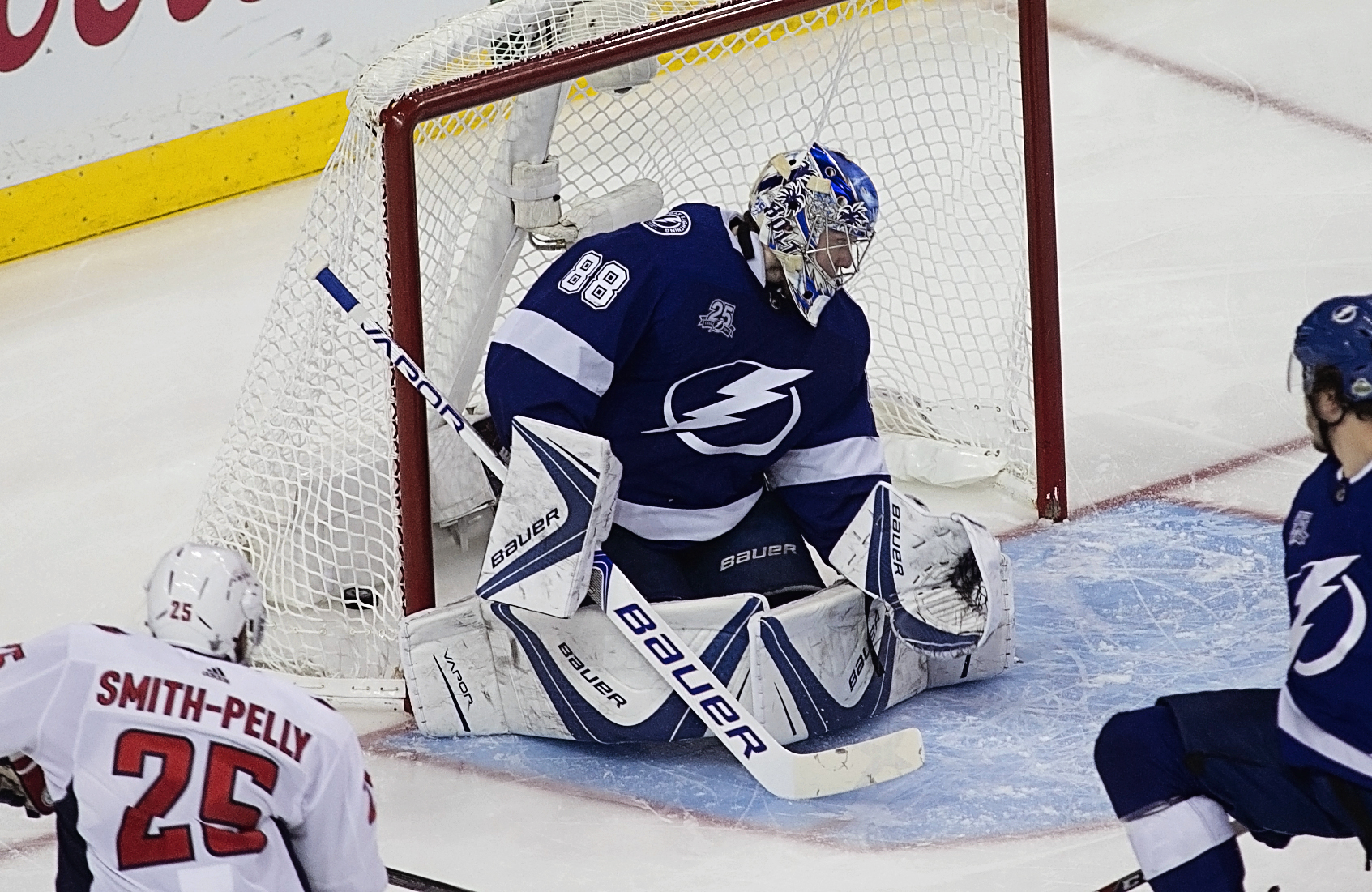 Vasilevskiy lets a goal past in the second period./CARMEN MANDATO