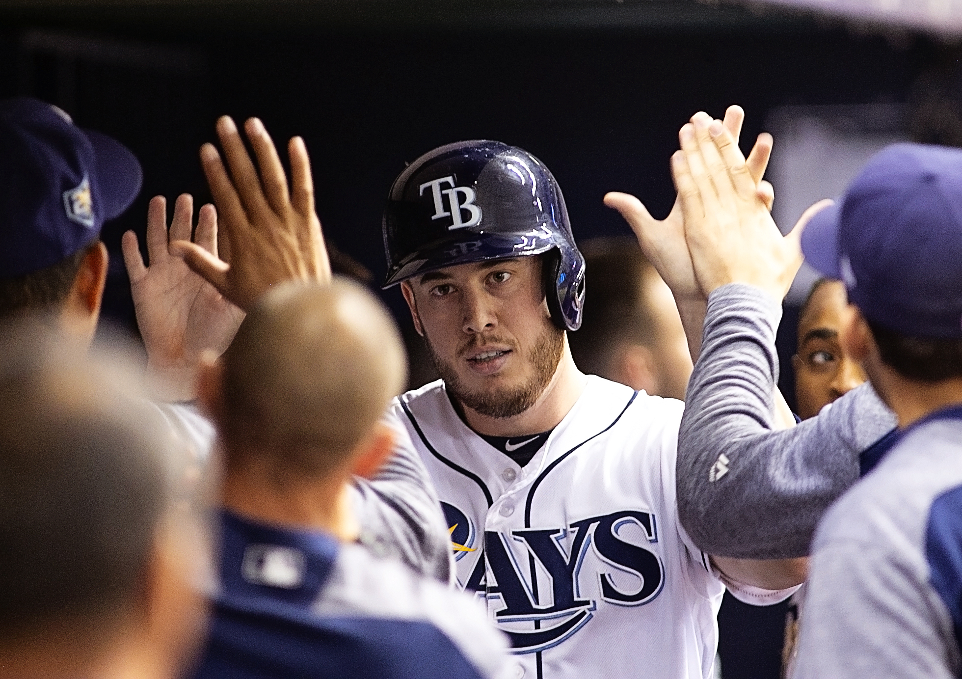 Cron had a sacrifice fly to pad the Rays' lead./CARMEN MANDATO