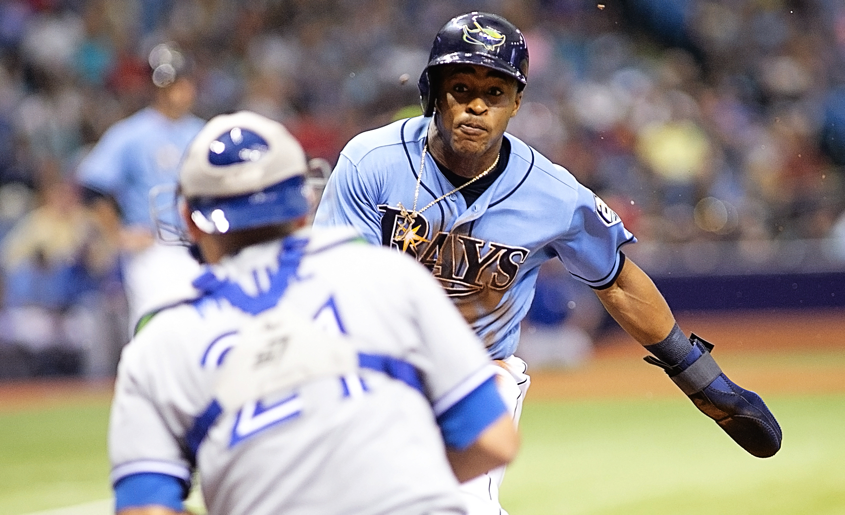 Mallex Smith is out at home after being caught stealing./CARMEN MANDATO