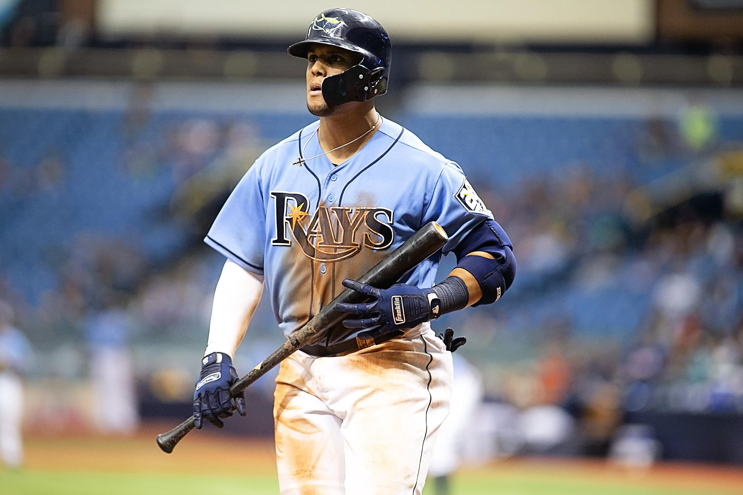 Gomez had two hits for Tampa Bay./CARMEN MANDATO