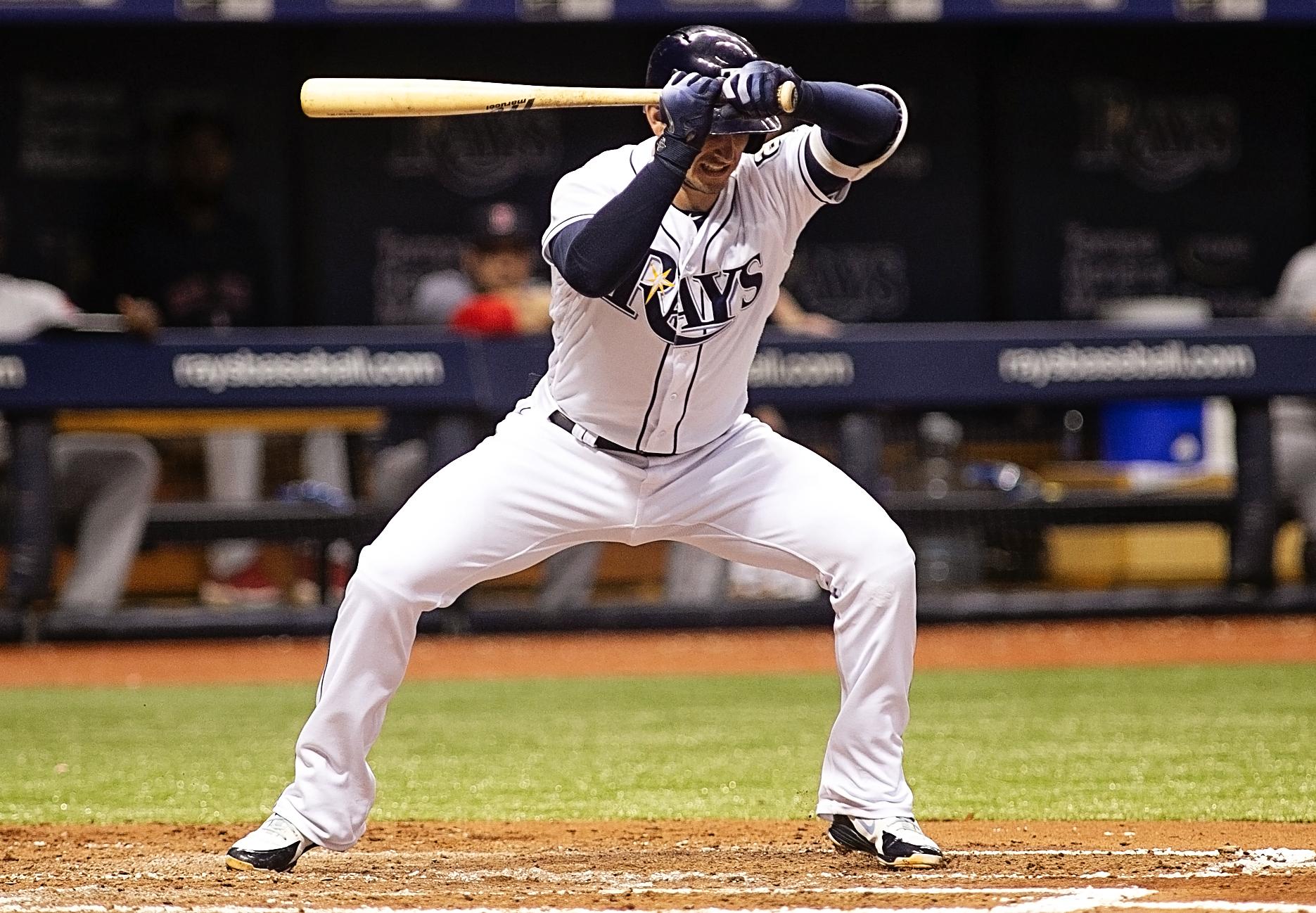 Daniel Robertson was hit by a pitch./CARMEN MANDATO