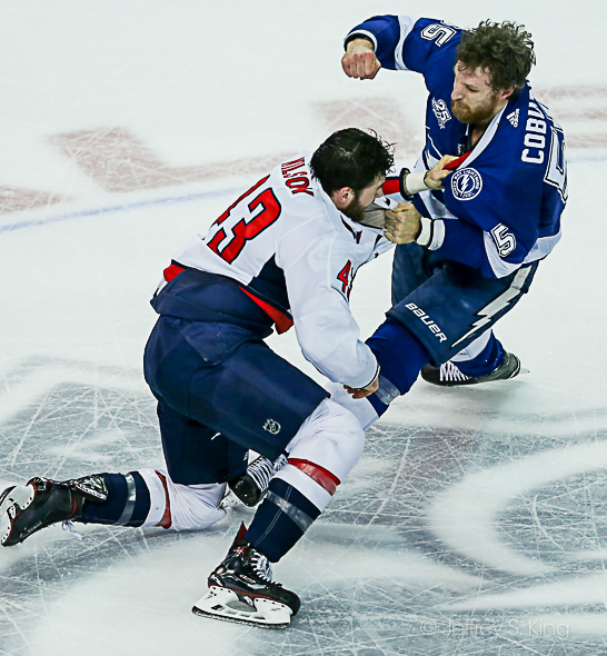 Brayden Coburn, Tom Wilson go after each other./JEFFREY S. KING