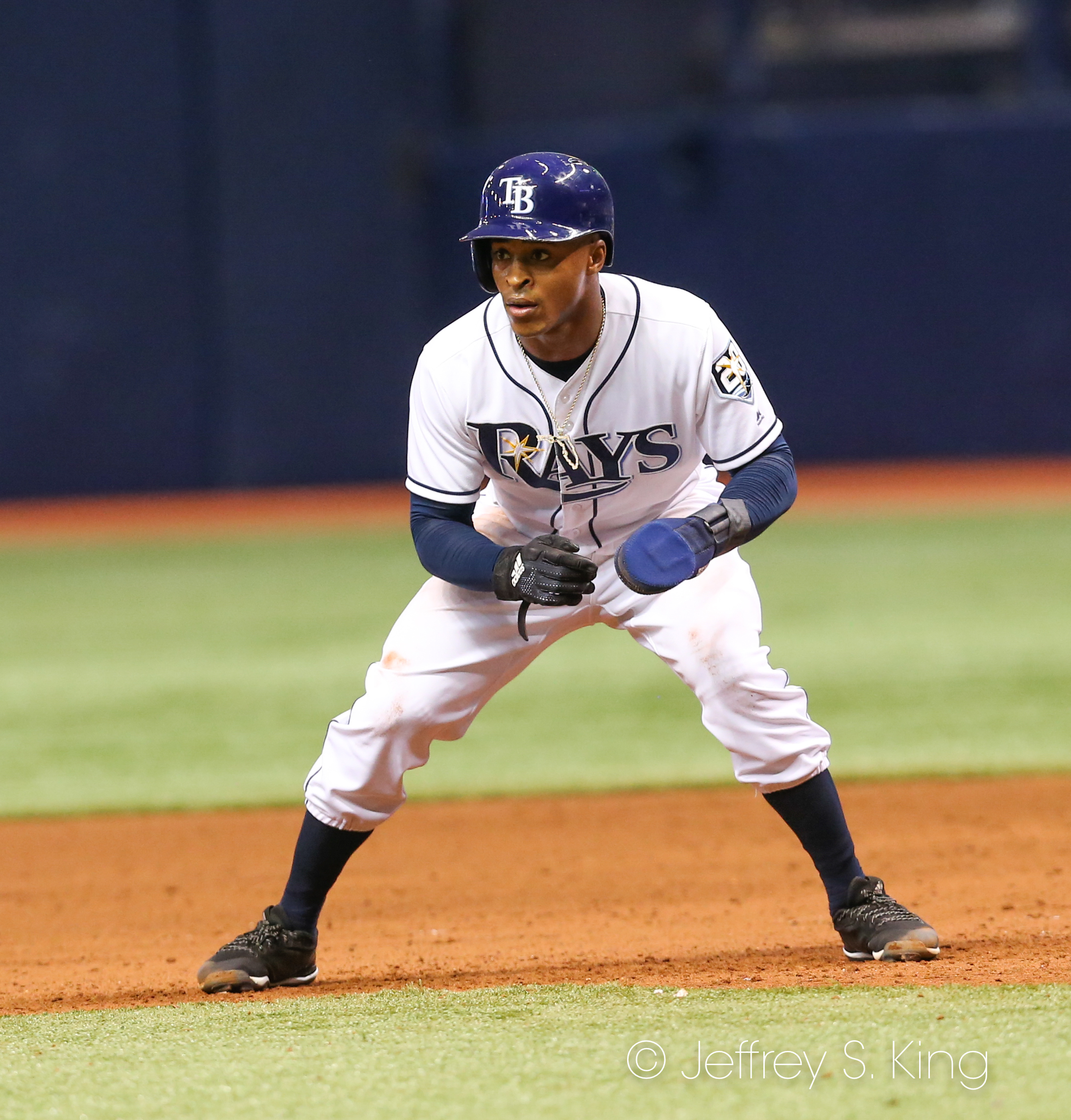 Smith scored the Rays' only run on an overthrow./JEFFREY S. KING