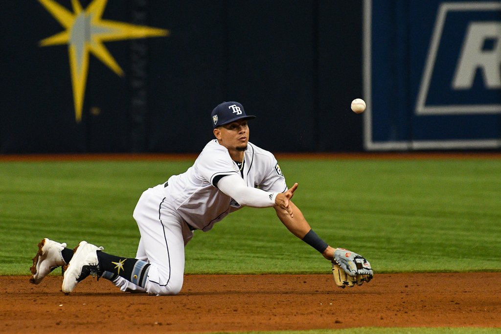 Willy Adames makes a stop and starts double play./JAMES LUEDDE