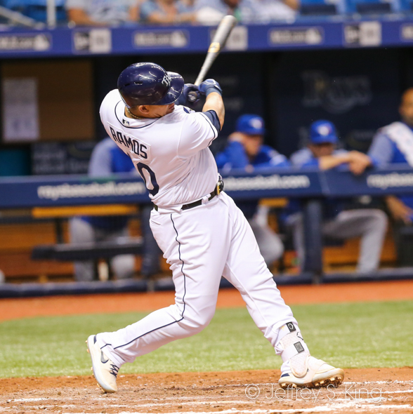 Ramos drove in four runs for the Rays./CARMEN MANDATO