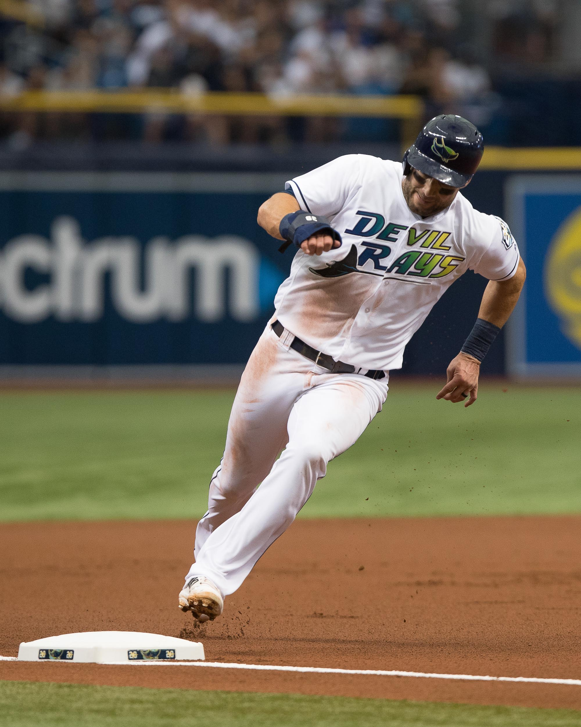 Kevin Kiermaier runs past 3rd on his way to home./STEVEN MUNICE