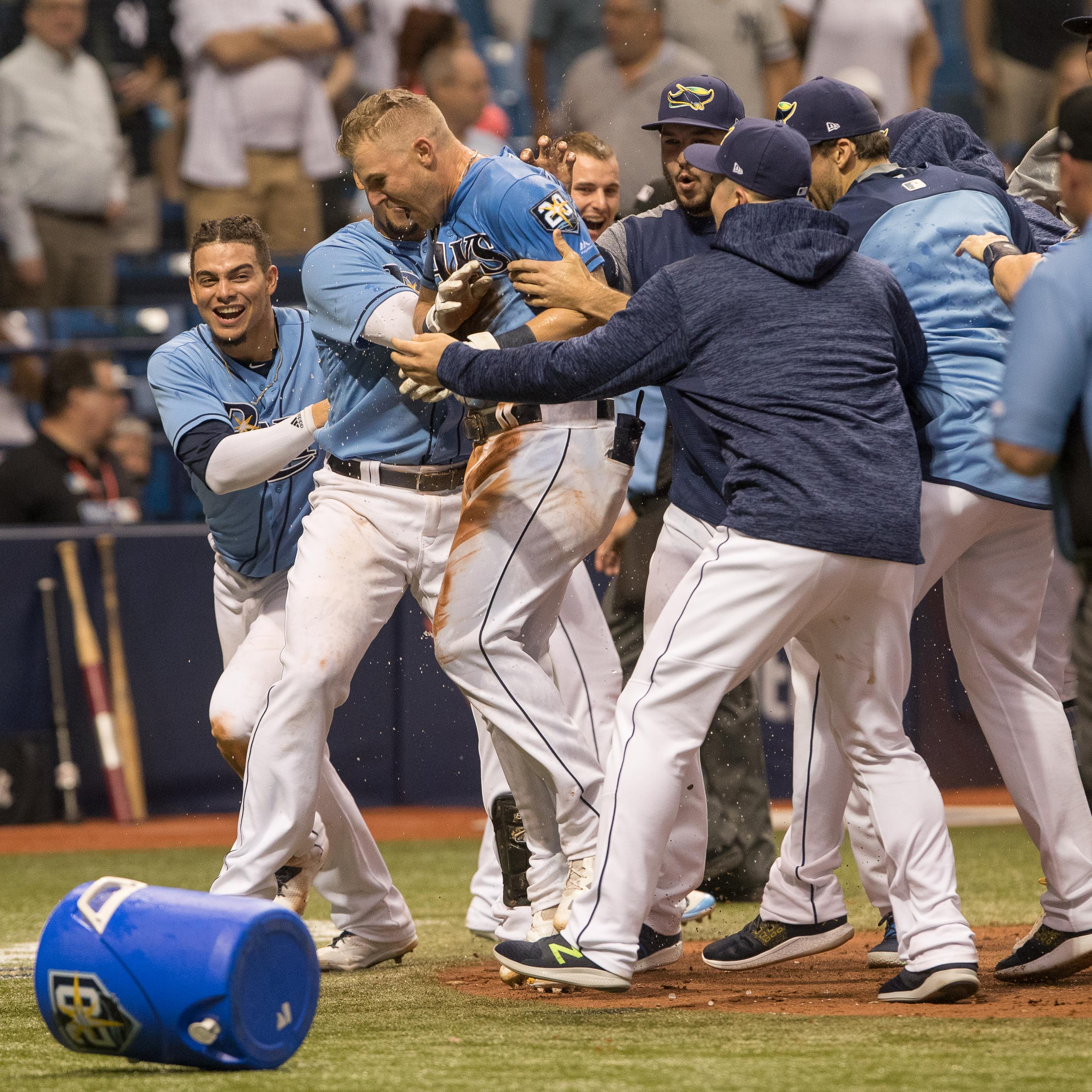 The Rays' celebrate their sweep of the Yankees../STEVEN MUNICE
