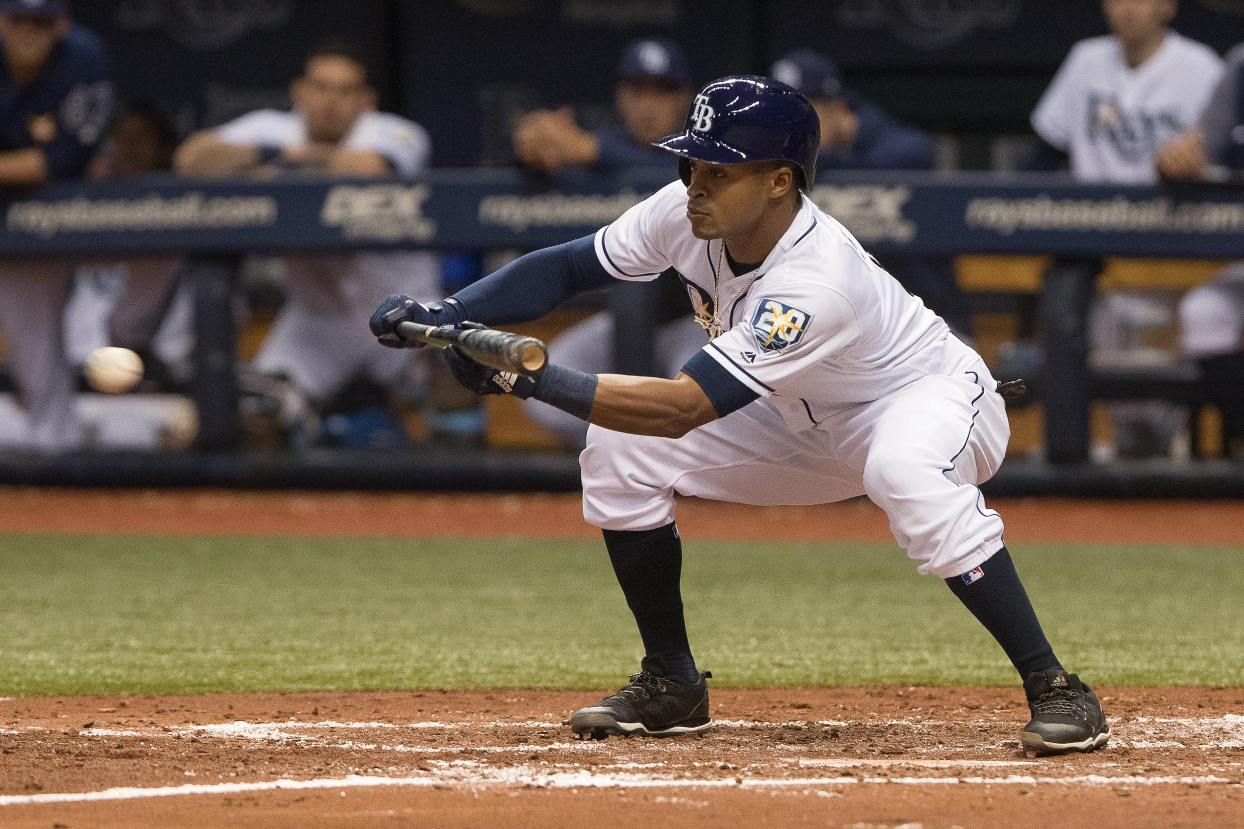Mallex Smith lays down a bunt for the Rays./STEVEN MUNCIE
