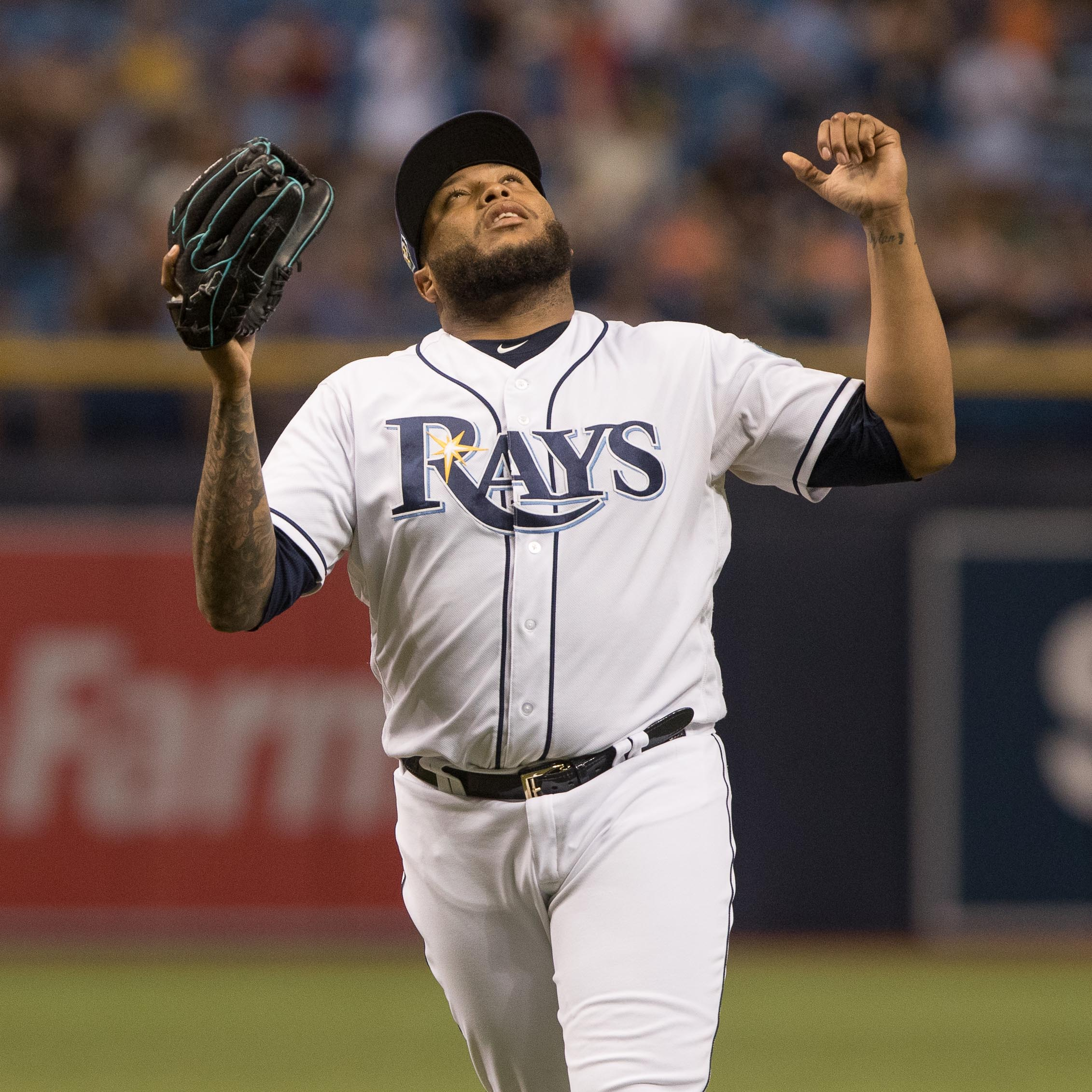 Alvarado celebrates his second save for the Rays./STEVEN MUNCIE