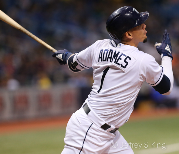 Adames has been hot offensively for Rays./JEFFREY S. KING