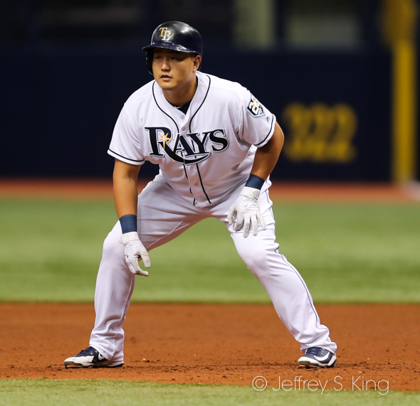 Choi had three hits for the Rays./JEFFREY S. KING