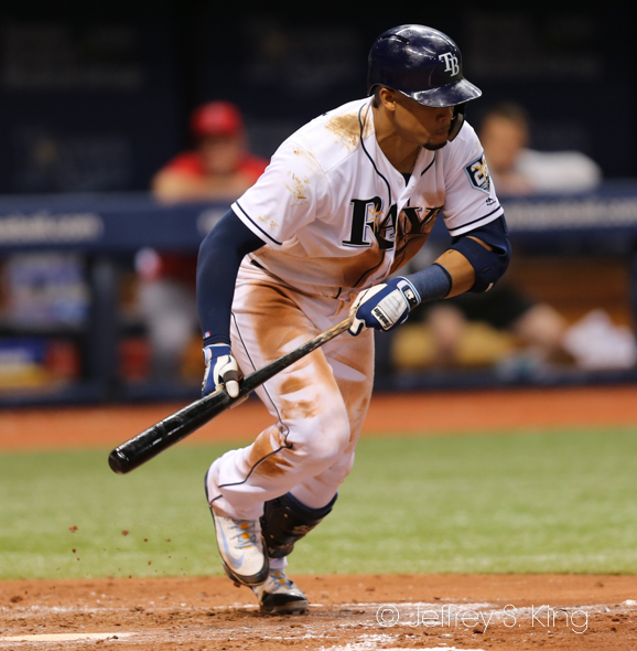 Gomez had two hits for the Rays./JEFFREY S. KING