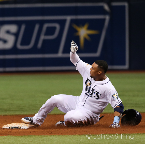 Gomez added three hits for the Rays./JEFFREY S. KING