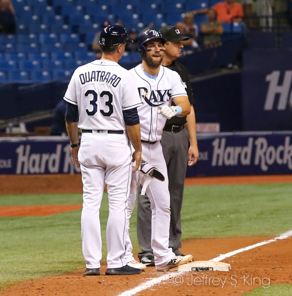 Kevin Kiermaier lands on third after a triple in the 10th./JEFFREY S. KING