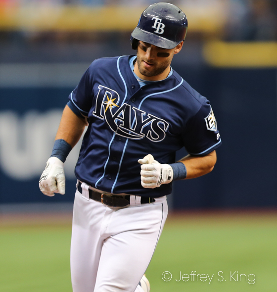 Kiermaier circles the bases after his homer./JEFFREY S. KING