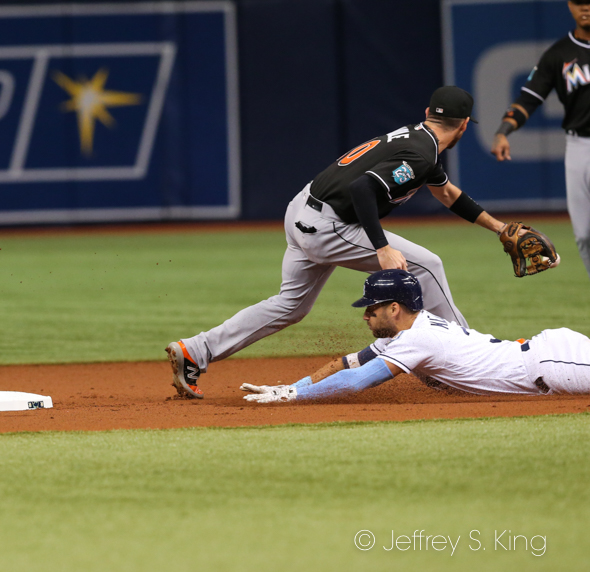 Kiermaier slides in with a double, but left because of a score foot./JEFFREY S. KING