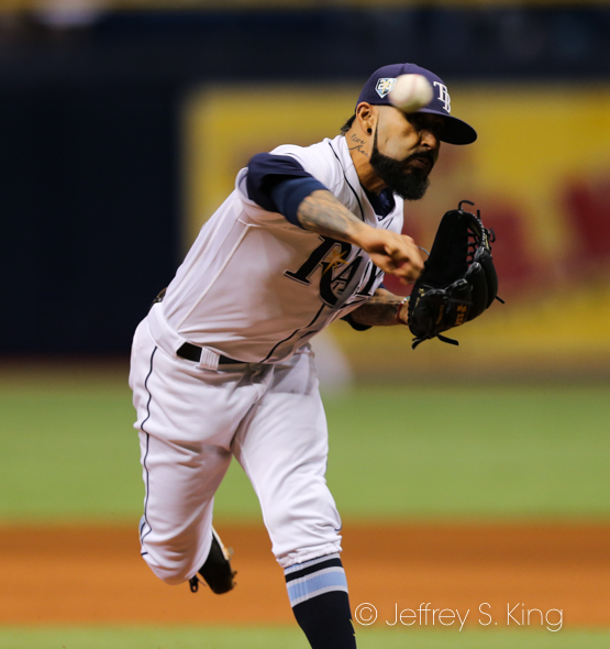 Romo finished the game for the Rays./JEFFREY S. KING