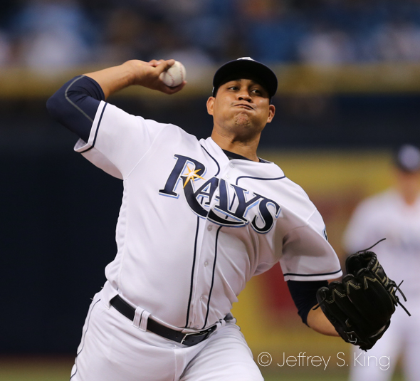 Chirinos pitched 6 2/3 innings for the Rays./JEFFREY S. KING