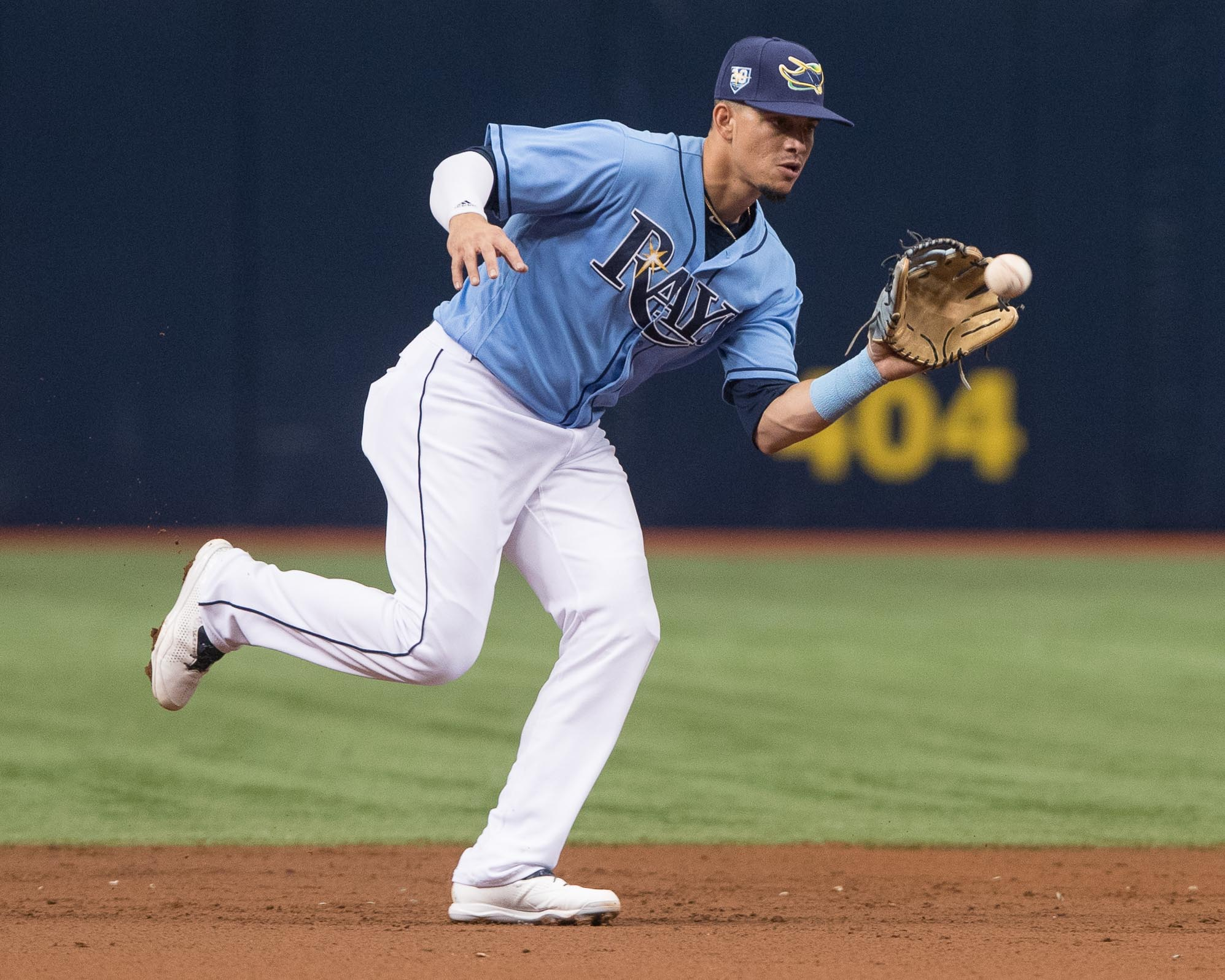 Gomez makes a catch for the Rays./STEVEN MUNCIE
