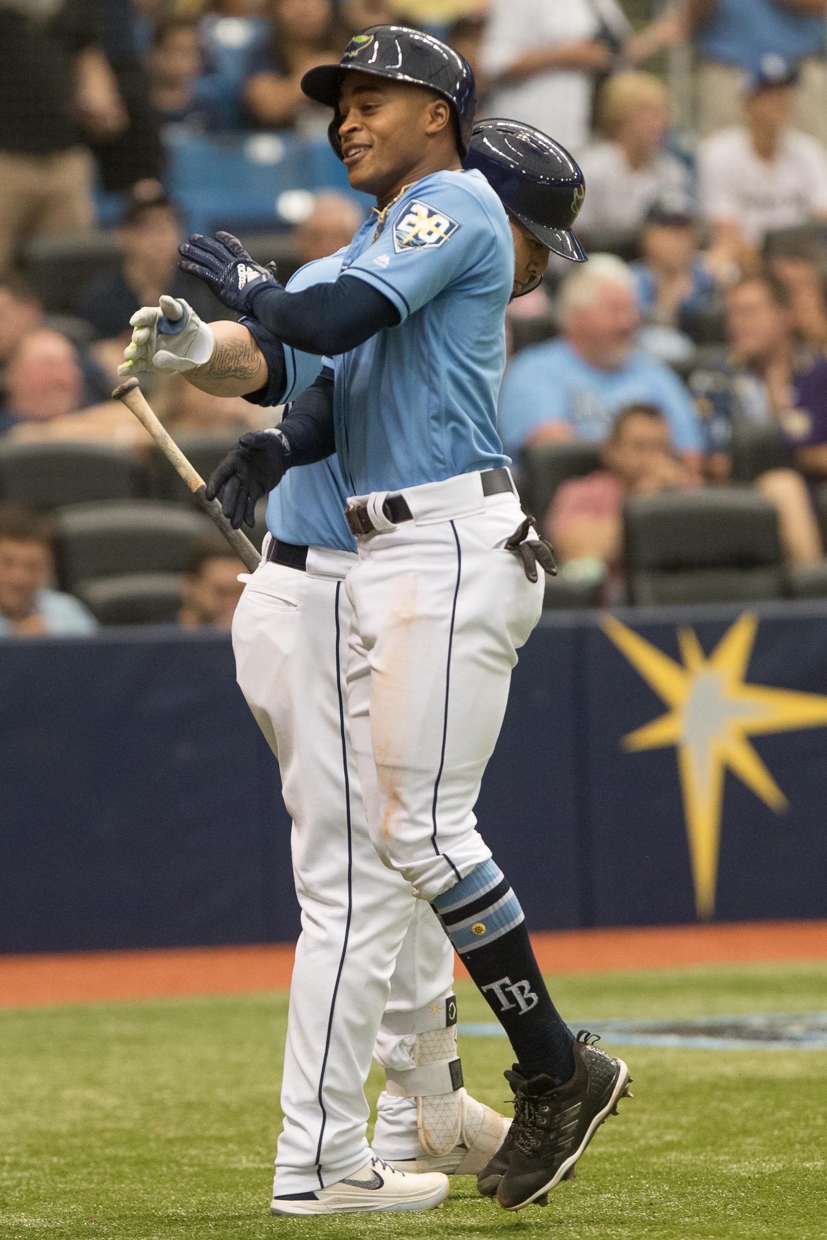 Mallex Smith celebrates a rare home run./STEVEN MUNCIE