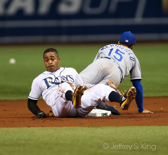 Mallex Smith steals second for the Rays./JEFFREY S. KING