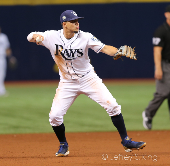Adames had two hits for the Rays.//JEFFREY S. KING