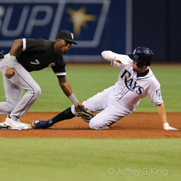 Adames steals a base for Tampa Bay./JEFFREY S. KING