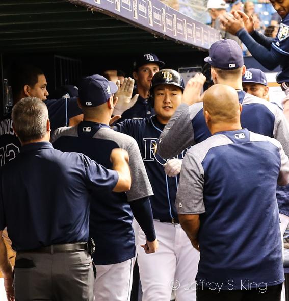 Ji-Man Choi celebrates his home run./JEFFREY S. KING