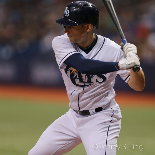 Lowe had his first two hits of the season./JEFFREY S. KING