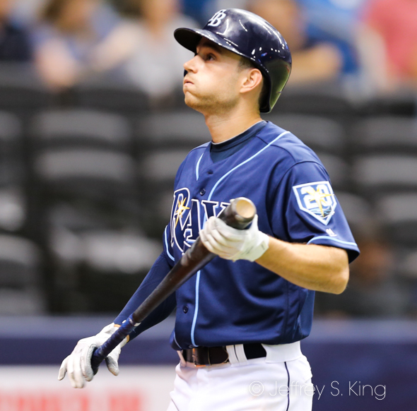 Brandon Lowe has gone 0-for-10 with the Rays./JEFFREY S. KING