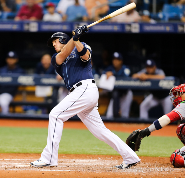 Cron singled in two runs for the Rays./JEFFREY S. KING