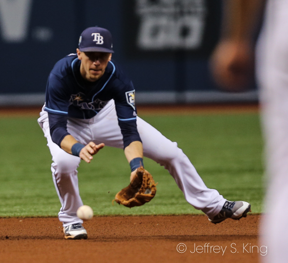 Duffy makes a play at third for the Rays./JEFFREY S. KING