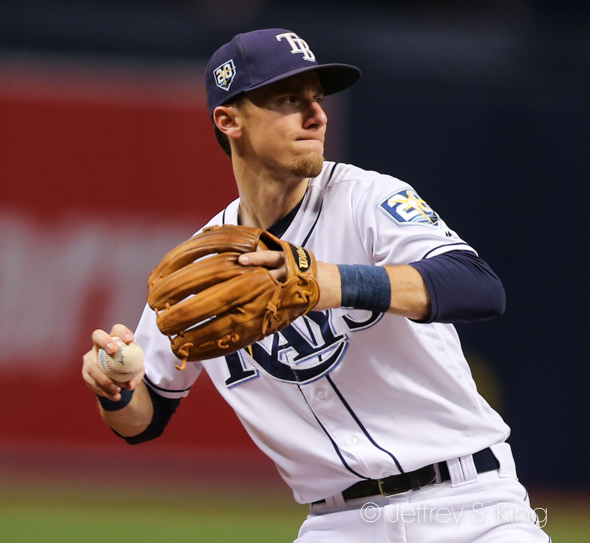 Duffy makes a play at third for Rays./JEFFREY S. KING