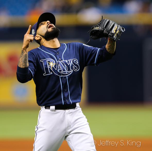 Romo reacts to his 13th save./JEFFREY S. KING