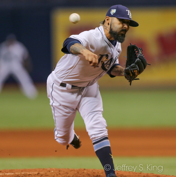 Romo got the win for the Rays./JEFFREY S. KING