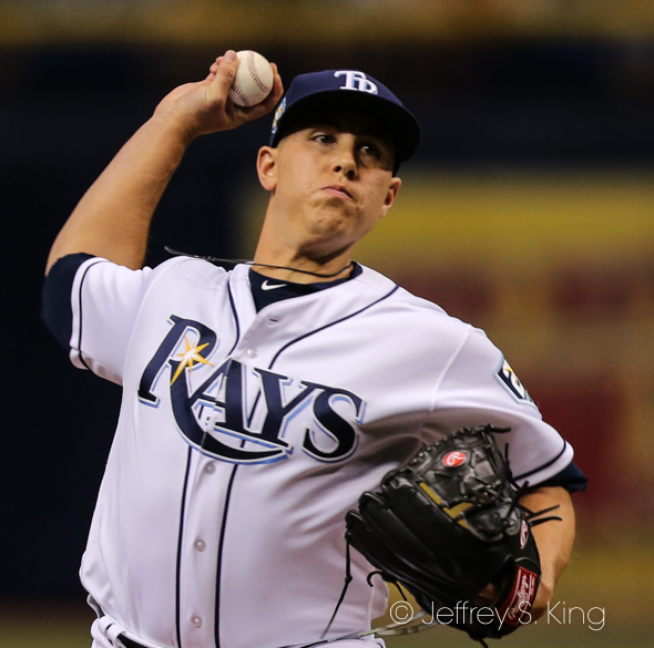 Jamie Shultz gave up two runs for the Rays./JEFFREY S KING
