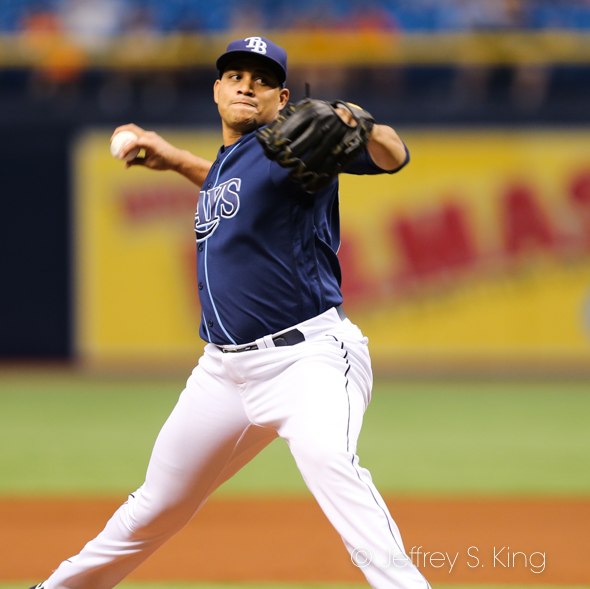 Yonny Chrinos won his first major league game in a five-inning stint. /JEFFREY S. KING