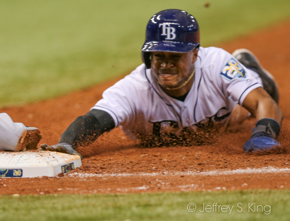 Mallex Smith caught off first base after line drive./JEFFREY S. KING